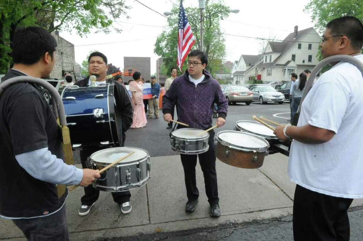 The drummers at the Connecticut Association of Filipino American Families parade to celebrate Santacruzan (Holy Cross) festival on Greenwich Avenue, on Monday, May 15, 2011.