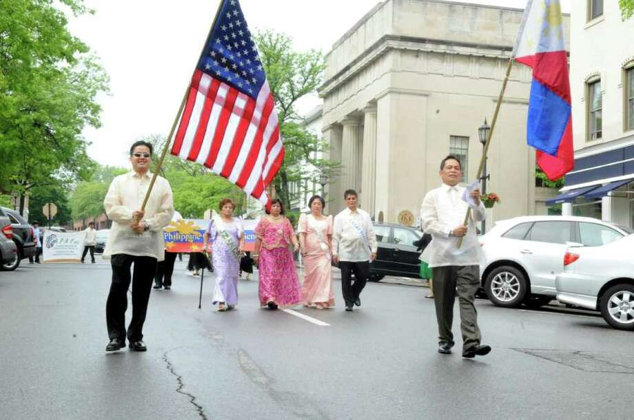 The beginning of the Connecticut Association of Filipino American Families parade to celebrate Santacruzan (Holy Cross) festival on Greenwich Avenue, on Monday, May 15, 2011. Photo: Helen Neafsey / Greenwich Time