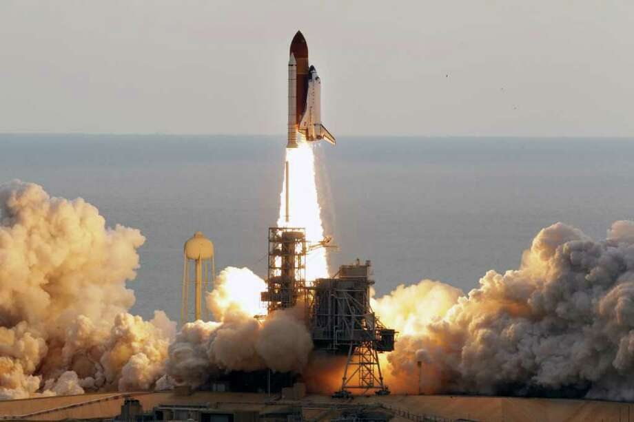 Space shuttle Endeavour clears the launch pad at Cape Canaveral, Fla., on Monday. Photo: AP