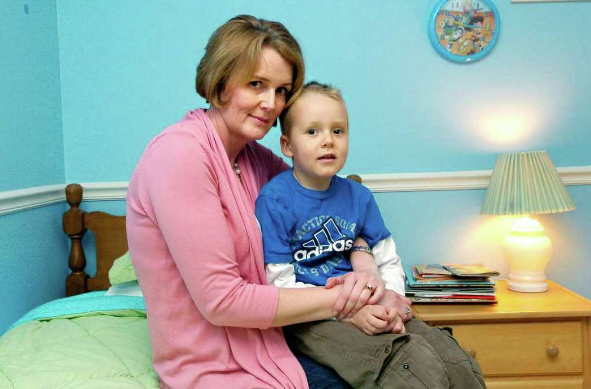 Lisa Rankin and her 5 year old son Matthew at home in Stamford, Conn. on Monday May 16, 2011. Matthew has eosophilinic esophagitis, a disease that causes white blood cells to attack the esophagus.