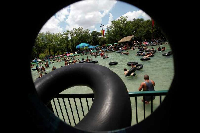 Tubers crowd the giant oasis at the Schlitterbahn Water Park in New Braunfels, Friday, July 3, 2009.