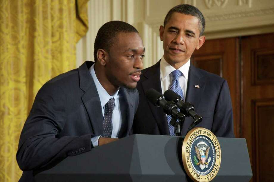 Kemba Walker, guard for the UConn. Huskies, gives a speech during President Barack Obama's ceremony for the team's 2011 NCAA national championship in the White House on May 16, 2011. Photo: Sarah Tung / Hearst Newspapers
