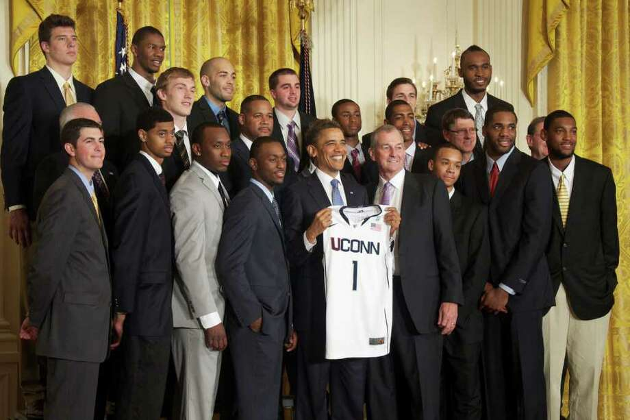 President Barack Obama honors the Univerity of Connecticut men's basketball team for their 2011 NCAA National Championship on May 16, 2011 at the White House. Photo: Sarah Tung / Hearst Newspapers