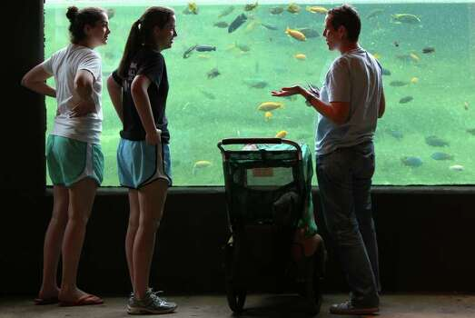 Julie Abad (right) talks with her nieces Isabella Yndo,15, (left) and Alexandra Yndo,13, (center) at ther Africa Live exhibit at the San Antonio Zoo Monday March 14, 2011. Attendance at the zoo is up because of the Spring Break holiday. In the stroller is Abad's son William Abad,1. JOHN DAVENPORT/jdavenport@express-news.net Photo: JOHN DAVENPORT, SAN ANTONIO EXPRESS-NEWS / jdavenport@express-news.net