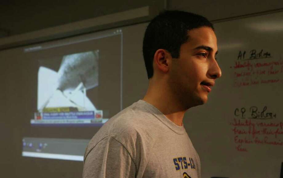 Shelton High School senior Omar Jobh talks to press after watching the launch of the Space Shuttle Endeavor on Monday, May 16, 2011. Jobh was one of five Shelton seniors who have a science experiment in the payload of the shuttle. Photo: B.K. Angeletti / Connecticut Post