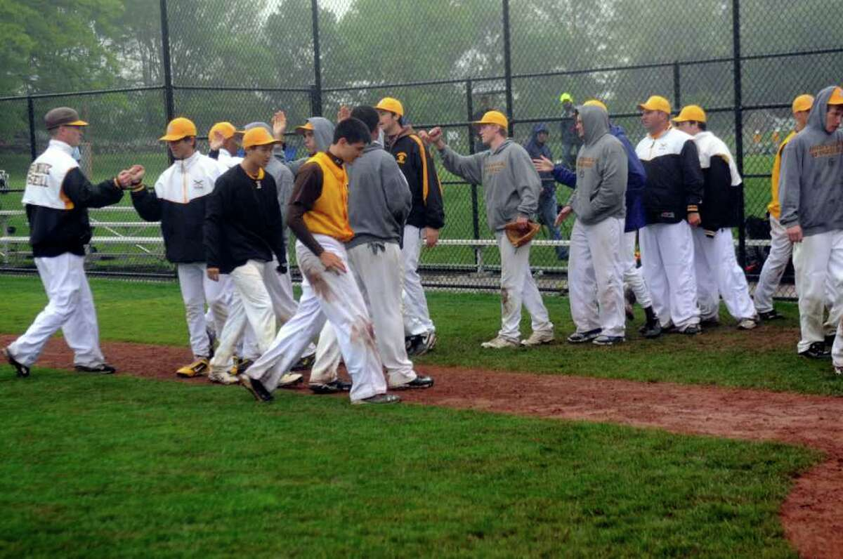 Brunswick School baseball team celebrates their win in the FAA quarterfinals against Greens Farms Academy at Brunswick on Monday, May 16, 2011.
