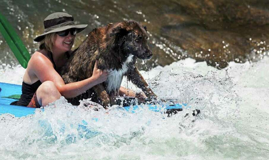 Riding on the front of a kayak gives a dog a close look at Rapids on the Guadalupe River as tubing o