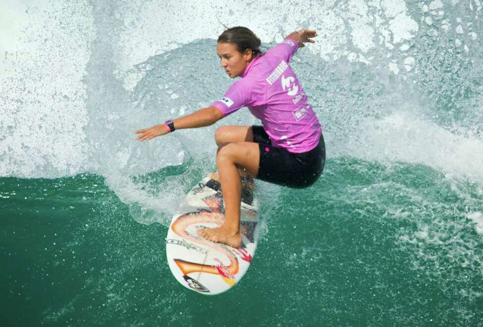 Sally Fitzgibbons, of Australia, competes in the first round of the women's Billabong Rio Pro surfing championship in Rio de Janeiro, Brazil, Thursday, May 12, 2011. Fitzgibbons is ranked second in the ASP Women's World Title Ranking.