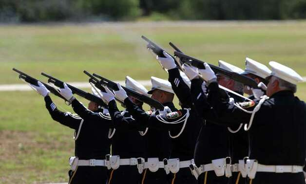 A 21-gun salute is fired at the Police Training Academy Tuesday May 17, 2011 during a tribute for fallen San Antonio Police Officers. JOHN DAVENPORT/jdavenport@express-news.net