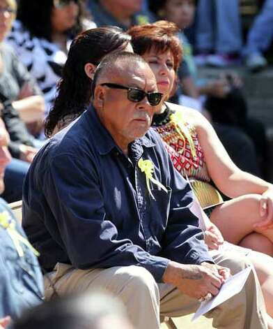 Juan Moreno listens to remarks during a ceremony honoring fallen San Antonio Police Officers Tuesday May 17, 2011. Moreno's son, Detective Mario Moreno, was killed September 21, 2007. JOHN DAVENPORT/jdavenport@express-news.net