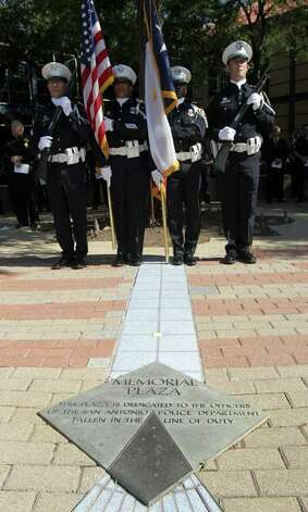 The Color Guard stands at attention Tuesday May 17, 2011 during a tribute to fallen San Antonio Police Officers at the Police Training Academy. San Antonio has lost a total of 51 officers. JOHN DAVENPORT/jdavenport@express-news.net