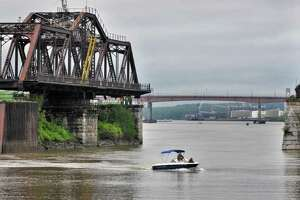 Work crews open the Livingston Avenue Bridge, a 145-year-old railroad swing bridge over the Hudson River, on Tuesday, May 17, 2011.  (John Carl D'Annibale / Times Union)