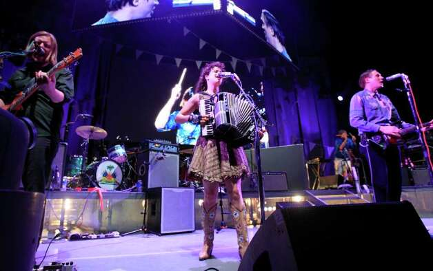 The indie rock band Arcade Fire performs at the Cynthia Woods Mitchell Pavilion Wednesday, May 4, 2011, in The Woodlands. ( Cody Duty / Houston Chronicle )u Photo: Cody Duty, Staff / © 2011 Houston Chronicle