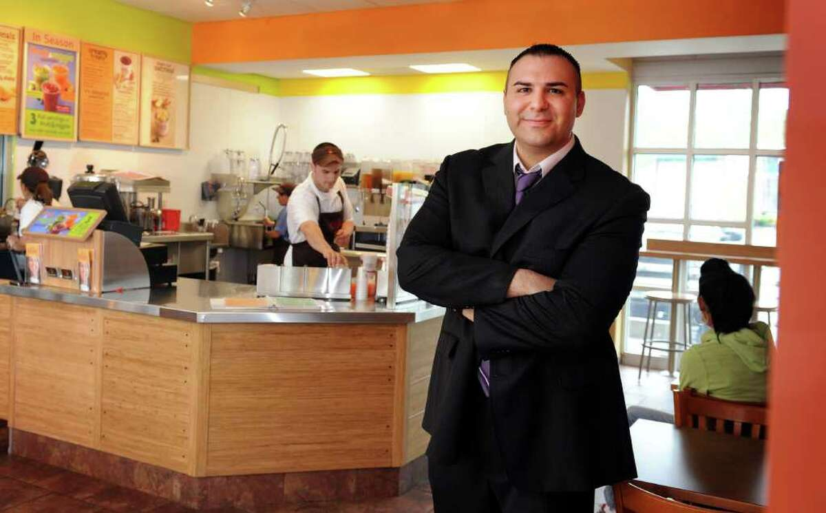 David Katz, franchise owner, stands in the newly opened Jamba Juice in Orange, Conn., the only location in the state.