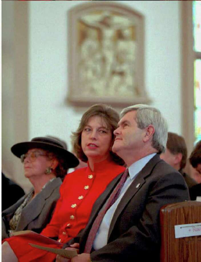 "Newt Gingrich:  The House Speaker is at church service with wife No. 2, Marianne.  He later asked for a divorce, and 48 hours later lectured on ""The Demise of American Culture"" with multiple references to ""God, families and values."" Photo: POOL, AFP/Getty Images / AFP"
