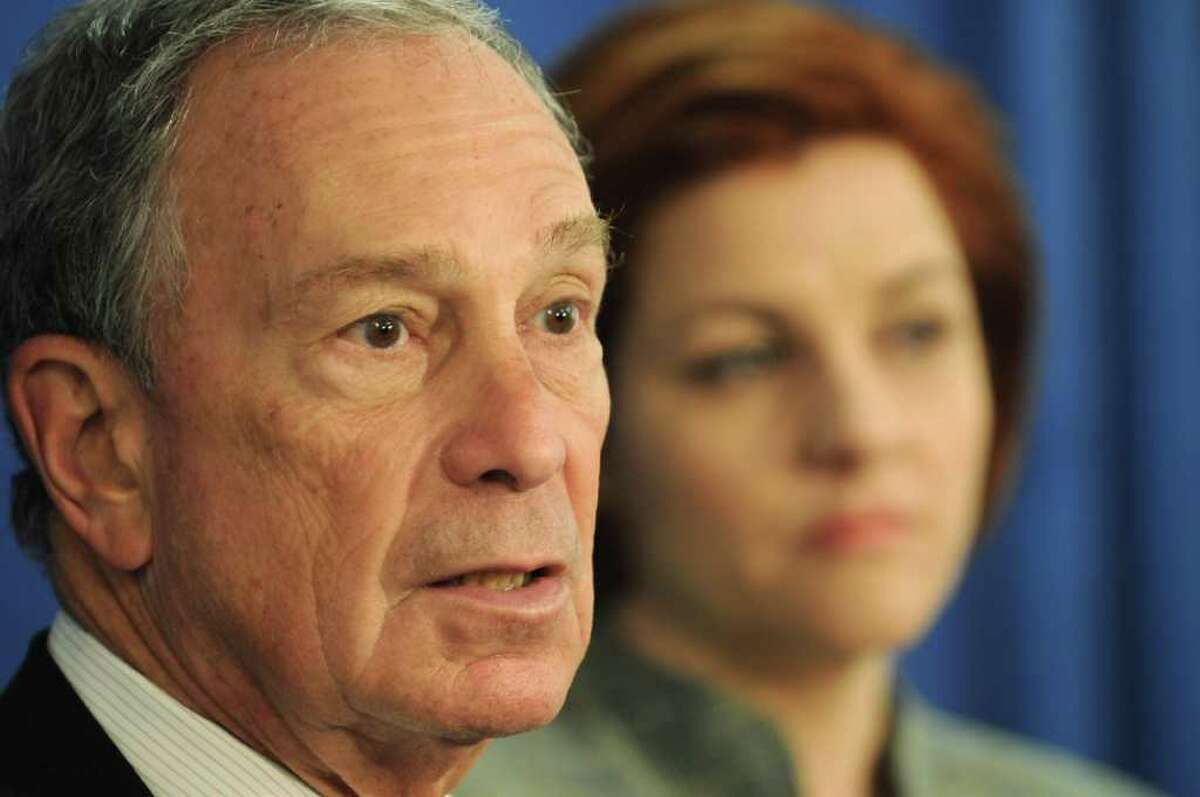 New York City Mayor Michael Bloomberg speaks about his support for same-sex marriage during a press conference in the Legislative Office Building in Albany, N.Y. Tuesday May 17, 2011. New York City Council Speaker Christine Quinn, right, also spoke in support. (Lori Van Buren / Times Union)