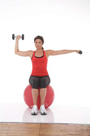 Arm Shoulder Press on Ball