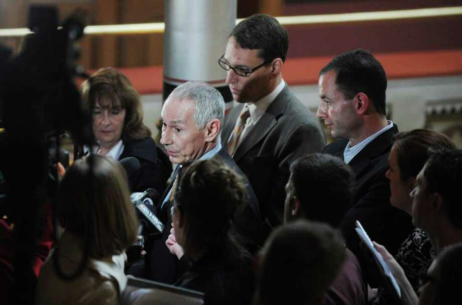 Mark Ojakian, the deputy secretary of the Office of Policy and Management, addresses the media during a press conference to discuss the details of concessions at the State Capitol in Hartford, Conn. on Tuesday May 17, 2011. Photo: Kathleen O'Rourke / Stamford Advocate