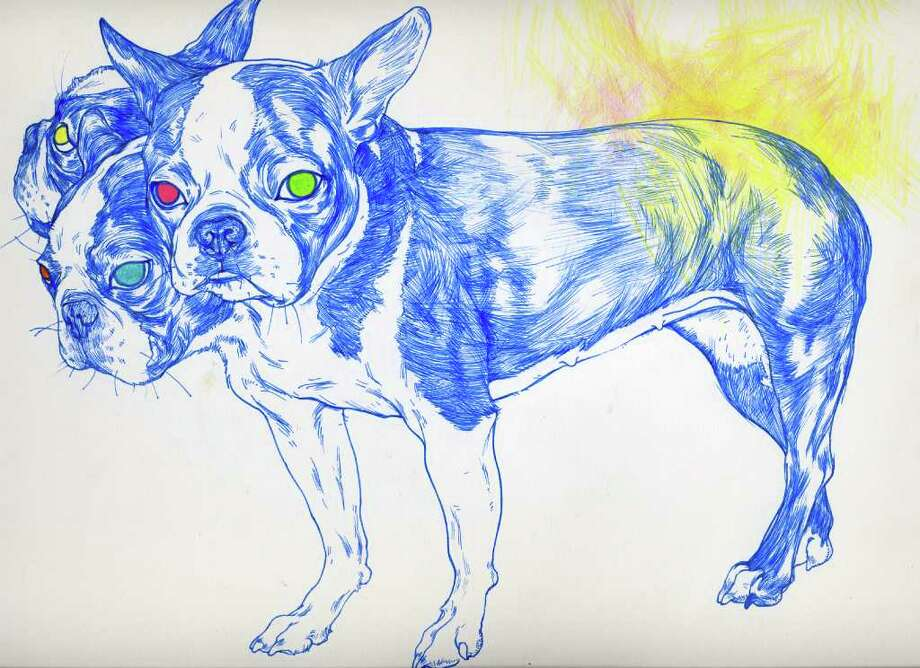 "Owen Sherwood  ""Cerberus,"" 2011  Ink and Colored Pencil on Bristol Board"