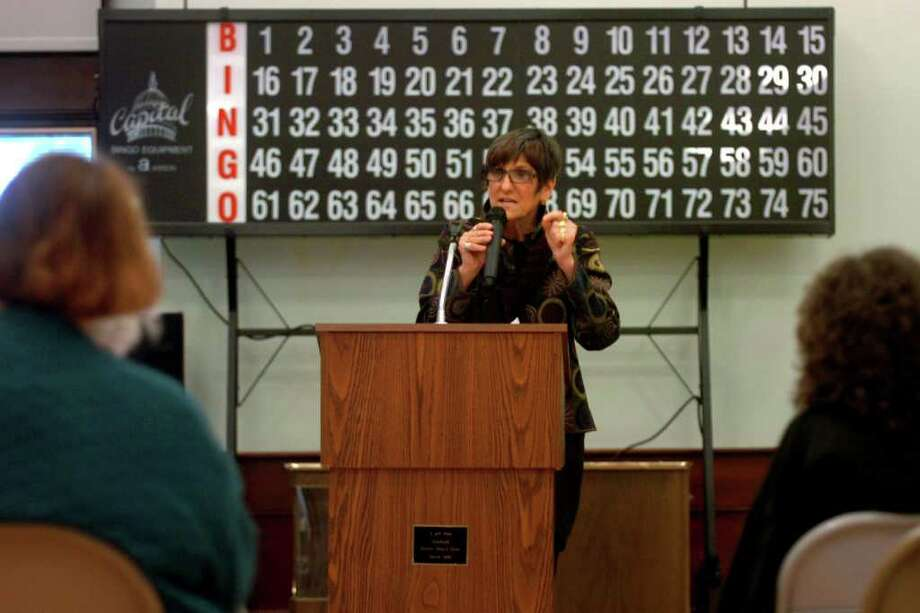 Congresswoman Rosa DeLauro speaks at a town hall meeting at the Baldwin Center in Stratford, Conn May 18th, 2011. The meeting was held to help inform seniors at the center about proposed changes to Medicare and Medicaid. Photo: Ned Gerard / Connecticut Post