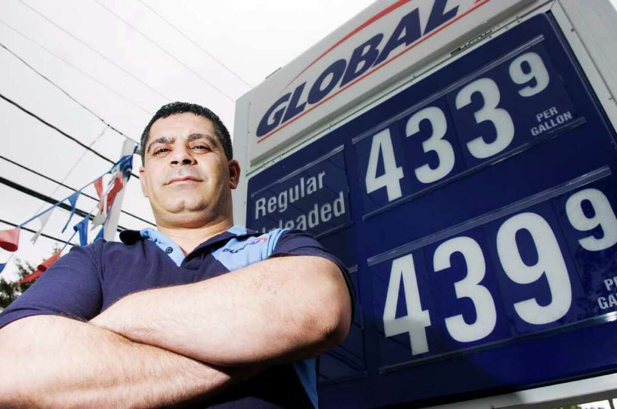 Mazen Almanha, owner and manager of Global Gasmart on High Ridge Road in Stamford, Conn., May 18, 2011. Many station owners say they are only making a small margin from the increased fuel prices.
