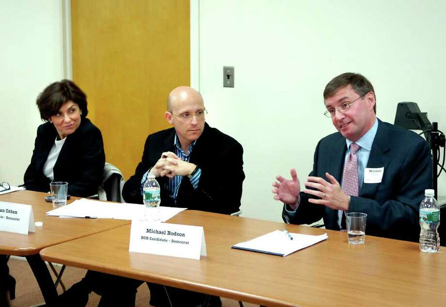 In this November 2007 file photo, Democratic candidates for the Board of Education, from left, Marianna Ponns Cohen, Jonathan Cohen and Michael Bodson, speak during a forum. All three serve on the current school board and are embroiled in a dispute over the resignation of Superintendent of Schools Sidney Freund. Photo: File Photo, ST / Greenwich Time File Photo