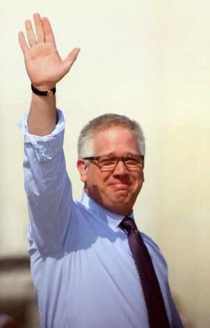 "WASHINGTON - AUGUST 28:  Fox News personality Glenn Beck waves during the ""Restoring Honor"" rally in front of the Lincoln Memorial at the National Mall on August 28, 2010 in Washington, DC.  Beck held the rally on the 47th anniversary of the ""I Have a Dream"" speech of Dr. Martin Luther King Jr. to ""restore America.""  (Photo by Alex Wong/Getty Images) *** Local Caption *** Glenn Beck Photo: Alex Wong, Getty Images / 2010 Getty Images"