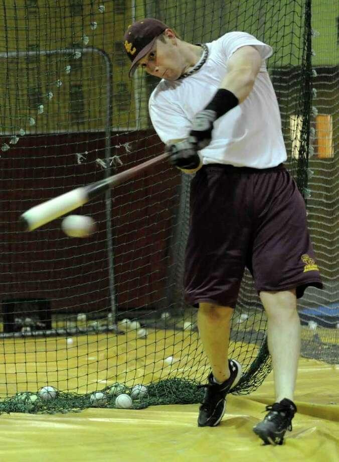 Colonie High School baseball star hitter Brian O'Keefe practices in Colonie, N.Y. Wednesday May 18, 2011. (Lori Van Buren / Times Union) Photo: Lori Van Buren