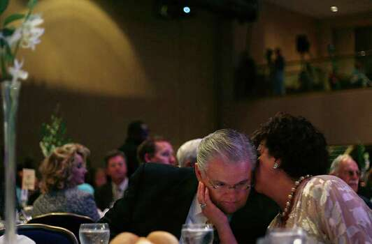 San Antonio Pastor John Hagee, of Cornerstone Church and John Hagee Ministries, shares a moment with his wife, Diana Hagee, during the Chairman's Club Donor Banquet at the Marriott Wardman Hotel in Washington, DC, on Monday, July 16, 2007.  Photo: LISA KRANTZ, SAN ANTONIO EXPRESS-NEWS / SAN ANTONIO EXPRESS-NEWS
