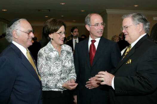 Ambassador Yehuda Avner (speaker), Patricia Kalmans (guest), Marty Wender (dinner chair) and Pastor John Hagee (guest) were at La Mansion del Rio Hotel on 10/10/2004 for The State of Israel Bonds Texas-Israel Dinner of State. Photo: LELAND A. OUTZ, SPECIAL TO THE EXPRESS-NEWS / SAN ANTONIO EXPRESS-NEWS