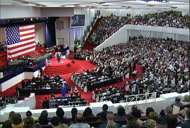 Congregants at Cornerstone Church listen to Pastor John Hagee preach Sunday on the meaning of last Tuesday's terrorist attacks in New York and Washington.  Photo: COURTESY HAGEE MINISTRIES / COURTESY HAGEE MINISTRIES