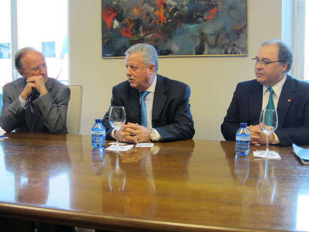 Bexar County Judge Nelson Wolff (from left) Mexico Ambassador to Spain Jorge Zermeno Infante and San Antonio Hispanic Chamber of Commerce President and CEO Ramiro Cavazos discuss trade matters Wednesday at Madrid's Mexico Embassy. Photo: David Hendricks/dhendricks@express-news.net