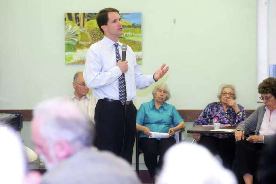 U.S. Rep. Jim Himes, D-Conn., during the congressman's Greenwich Senior Center to discuss issues of importance to local elderly residents on Thursday, May 19, 2011. Photo: Helen Neafsey / Greenwich Time