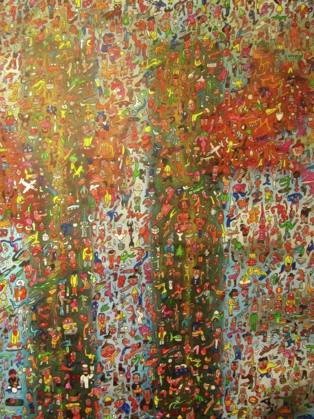 Philippe Simille Explosition 2001 acrylic on linen 144x96cm (courtesy The Marketplace Gallery)