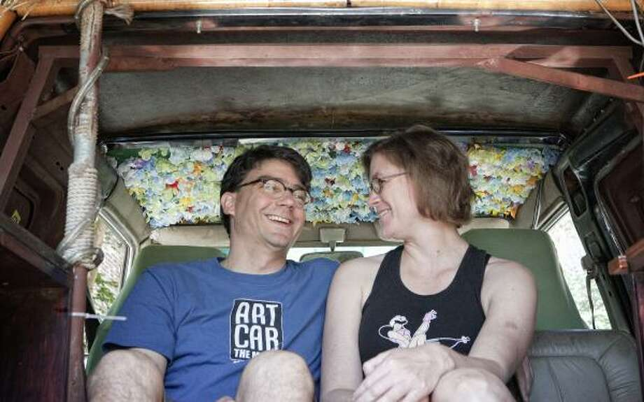 Jake Goldstein and Amy Dinn met during art car weekend in 2007 and were married in 2008 — at an art car event, of course. Photo: TODD SPOTH, FOR THE CHRONICLE