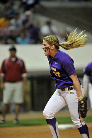 LSU's Rachele Fico, an Oxford native and former phenom at Masuk, throws a pitch during the 2011 season. Photo: Contributed Photo /