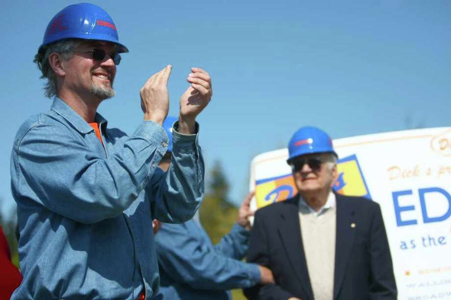 Jim Spady applauded as his dad Dick Spady watches in the background during the groundbreaking for the new Dick's Drive-In on Thursday, May 19, 2011 on Highway 99 in Edmonds. Photo: JOSHUA TRUJILLO / SEATTLEPI.COM