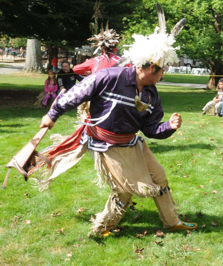 Wesley Halsey, 19, of Oneida, NY performs a native American dance Saturday, Sept. 26, 2009 at the 13th annual Native American Art Festival, held at Ballard Park in Ridgefield, CT. Photo: Jay Weir / The News-Times