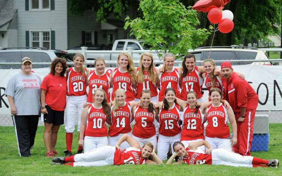 The 2011 Greenwich High School softball team prior to girls high school softball game between Greenwich High School and Wilton High School at Julian Curtiss School, Greenwich, Thursday afternoon May 19, 2011. Photo: Bob Luckey / Greenwich Time