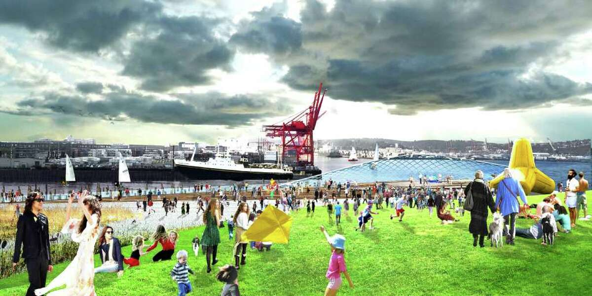 Festivals, events and concerts at Pier 48, looking south towards the Port of Seattle.