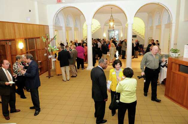 Guests gather at the Ferguson Library in Stamford, CT on Thursday, May 19, 2011 for a fundraiser to benefit the library. Photo: Shelley Cryan / Shelley Cryan freelance; Stamford Advocate freelance