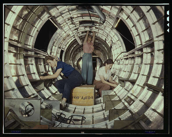 Women workers install fixtures and assemblies to a tail fuselage section of a B-17 bomber at the Douglas Aircraft Company plant, Long Beach, Calif. Oct. 1942. (LOC) Photo: Library Of Congress 1940s Color Photo Collection / No known restrictions on publication
