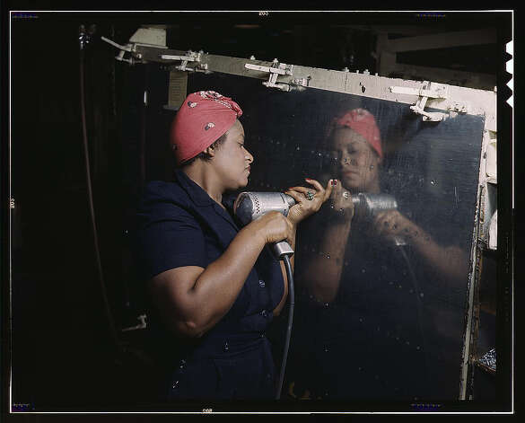 "Operating a hand drill at Vultee-Nashville, woman is working on a ""Vengeance"" dive bomber, Tennessee. Feb. 1943. (LOC) Photo: Library Of Congress 1940s Color Photo Collection / No known restrictions on publication"