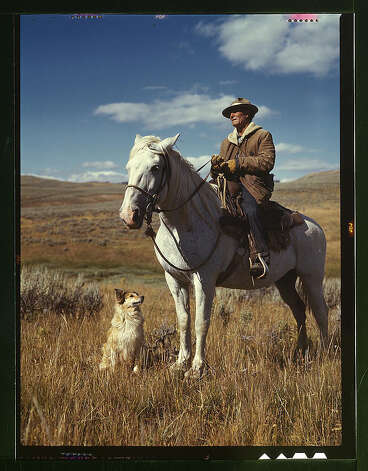 Shepherd with his horse and dog on Gravelly Range, Madison County, Montana. Aug. 1942. (LOC) Photo: Library Of Congress 1940s Color Photo Collection / No known restrictions on publication