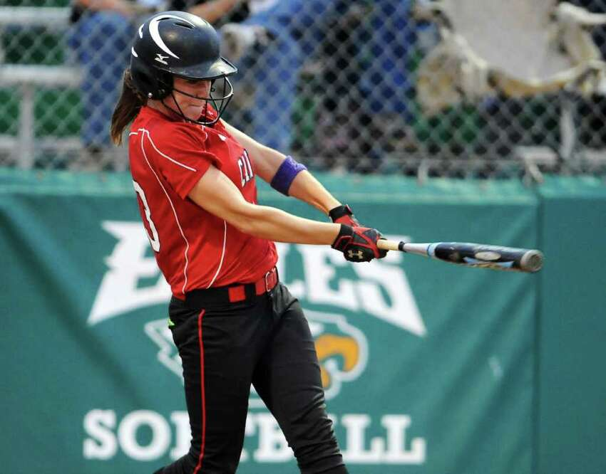 New Braunfels Canyon's Andrea Robson hits an RBI single in the sixth inning during the Class 4A fourth-round softball playoff game between the New Braunfels Canyon Cougars and the Corpus Christi Tuloso-Midway Cherokee at the Pleasanton ISD Sports Complex in Pleasanton, Texas on May 19, 2011 John Albright / Special to the Express-News.