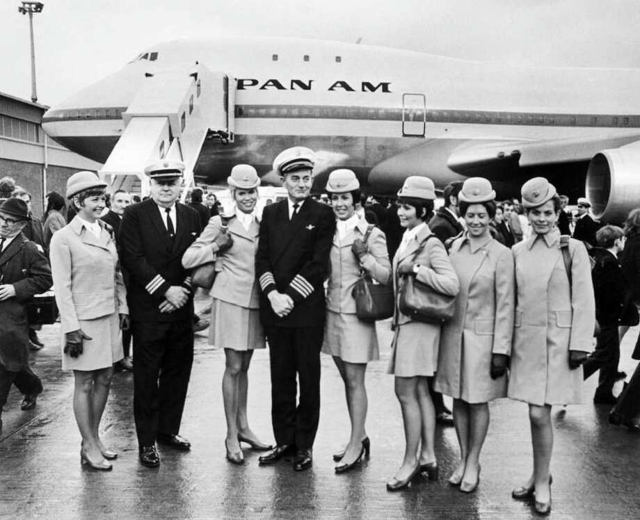 The Pan Am aircrew of the first commercial flight of the Boeing 747, from New York to London, poses in front of the plane on Jan. 13, 1970. Photo: -, AFP/Getty Images / Getty