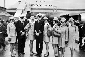 The Pan Am aircrew of the first commercial flight of the Boeing 747, from New York to London, poses in front of the plane on Jan. 13, 1970.