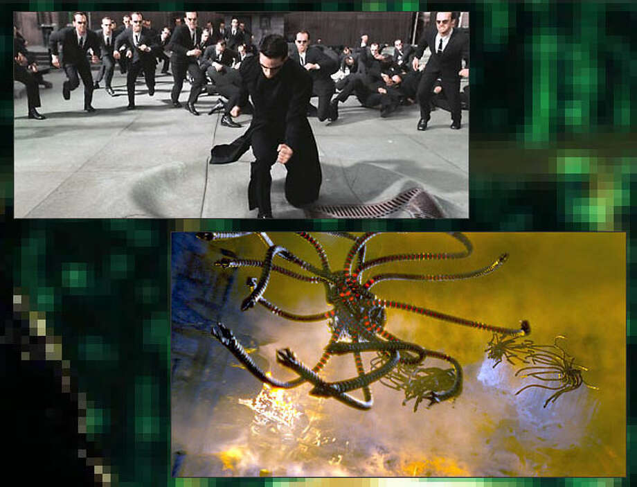 "If Nature doesn't get us, the Machines will. The ""Matrix"" trilogy offered one vision of how computers ultimately turn the table on humanity. Here, enslaved humans live out their lives in a virtual reality while their bodies' electrical output powers the machine civilization. Pictured: Heroic human Neo (Keanu Reeves) battles digital enemy Agent Smith (Hugo Weaving) and his army of doppelgangers (above left) while non-humanoid Sentinels hunt human rebels in ""The Matrix Reloaded"" (2003). Photo: 20th Century Fox / Warner Bros."