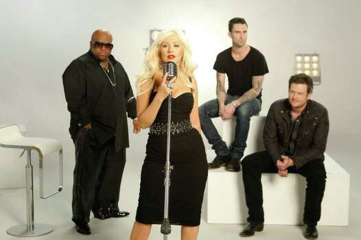 THE VOICE -- On-Air Promo -- Pictured: (l-r) Cee Lo Green, Christina Aguilera, Adam Levine, Blake Shelton -- Photo by: Michael Desmond/NBC Photo: Michael Desmond / Episodic