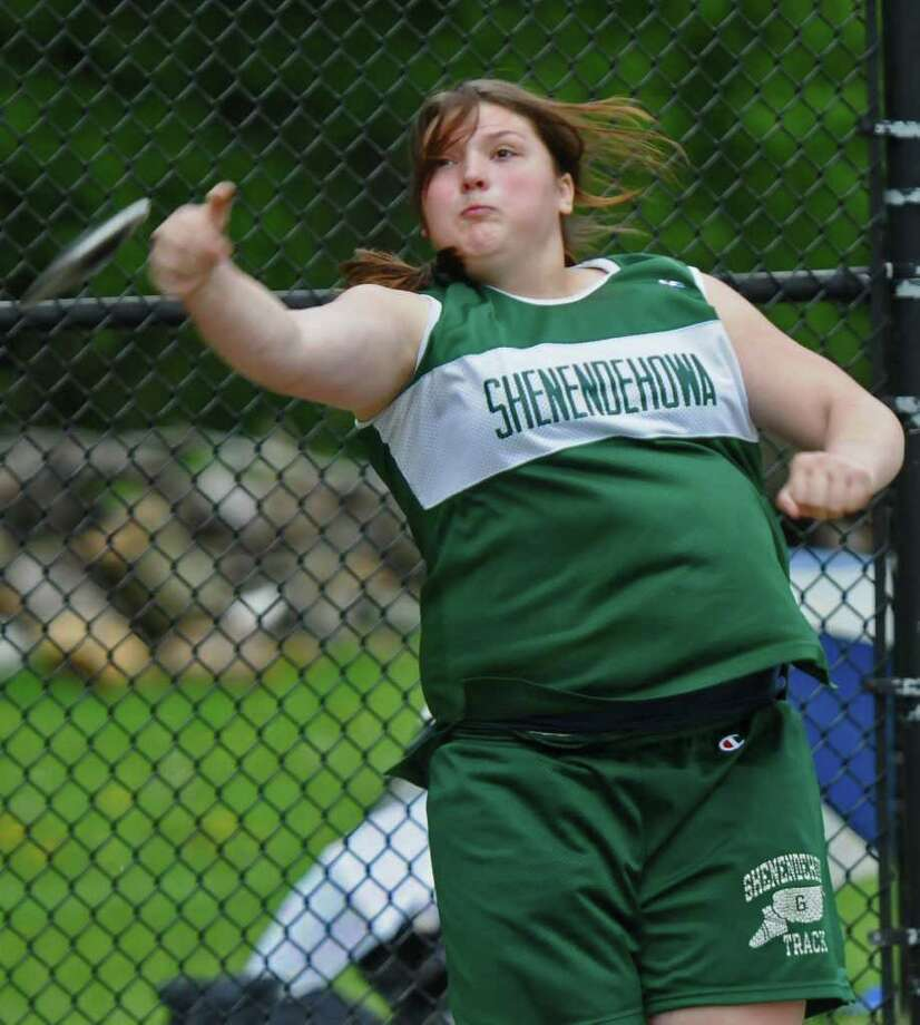 Shenendehowa's Samantha Kosa throws the discus during the Girl's Suburban Council Championship Meet at Colonie High School on Wednesday May 18, 2011 in Colonie, NY .( Philip Kamrass / Times Union) Photo: Philip Kamrass